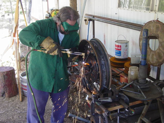 Cutting and Welding the model A wheel