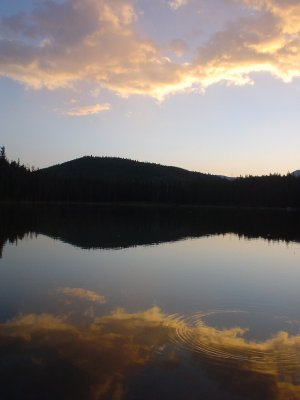 High mountain lake sunset