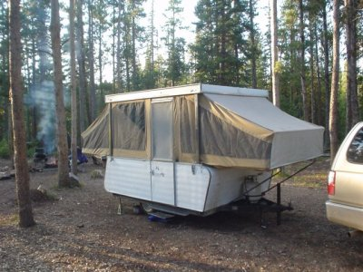 Vintage pop up camping trailer