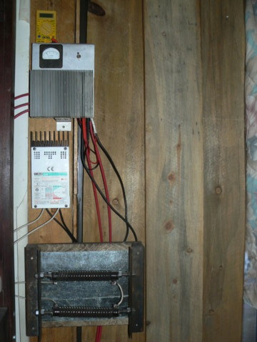 Photo of rectifier box, charge controller and dump load.