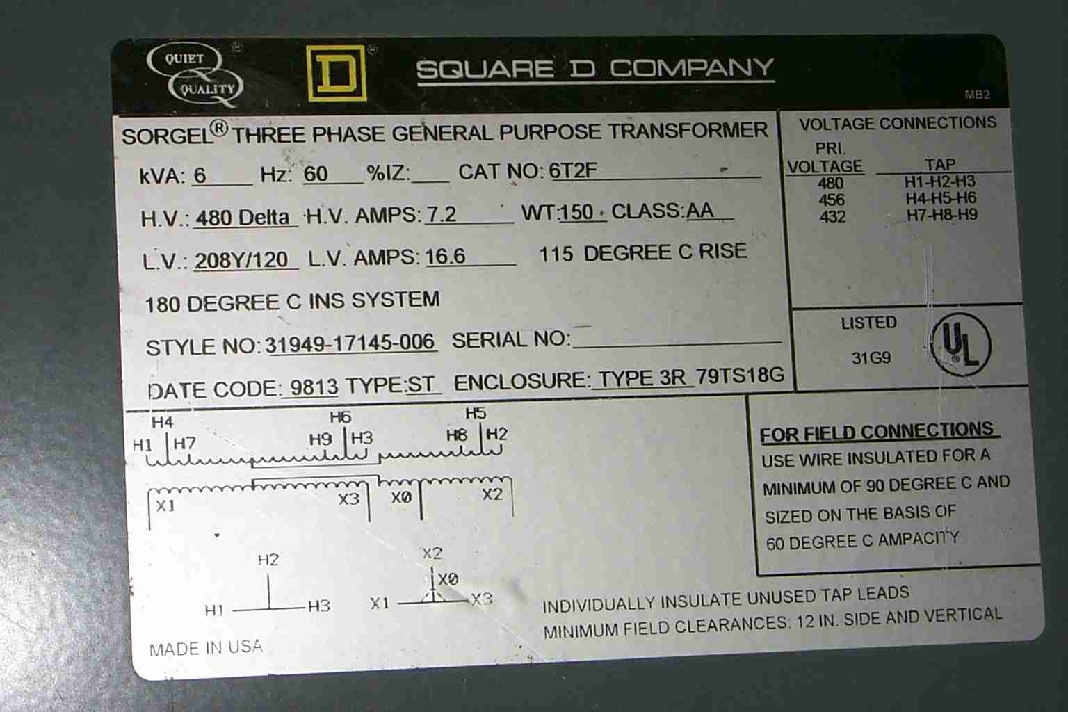 Square D Transformer Wiring Diagram : Volt single phase transformer wiring diagram get