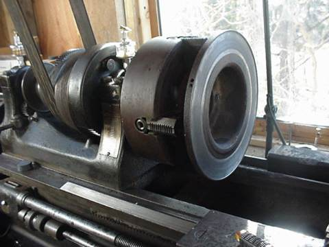 brake disk on the lathe