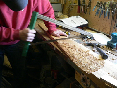 roughing out wind turbine blades with a bow saw